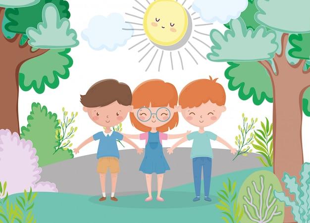Kids zone, cute girl and boys in the park sun cartoon