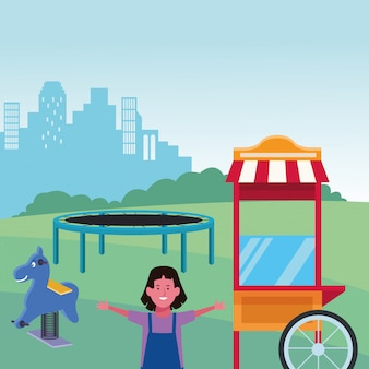 Kids zone, cute girl with trampoline spring horse and food booth playground