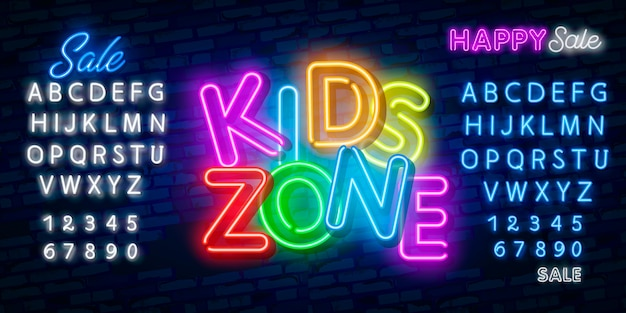 Kids zone design template neon sign, light banner, neon signboard, nightly bright advertising, light inscription.