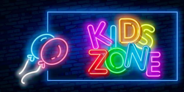 Kids zone design template neon sign, light banner, neon signboard, nightly bright advertising, light inscription.