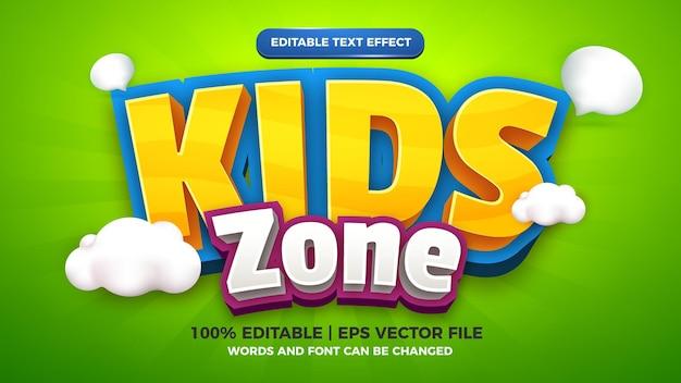 Kids zone editable text effect cartoon