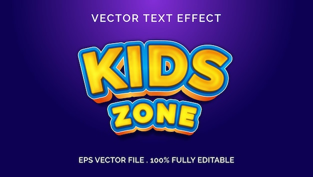 Kids zone editable text effect style