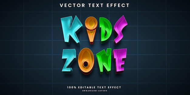 Kids zone editable text effect