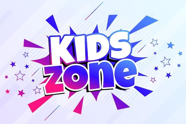 Kids zone divertente gioco banner design