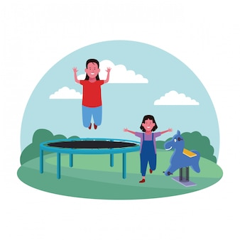 Kids zone, girl and boy jumping on trampoline playground