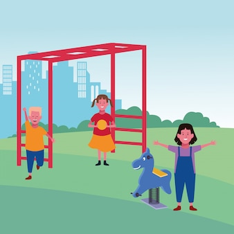Kids zone, girl with ball and boy monkey bars and spring horse playground