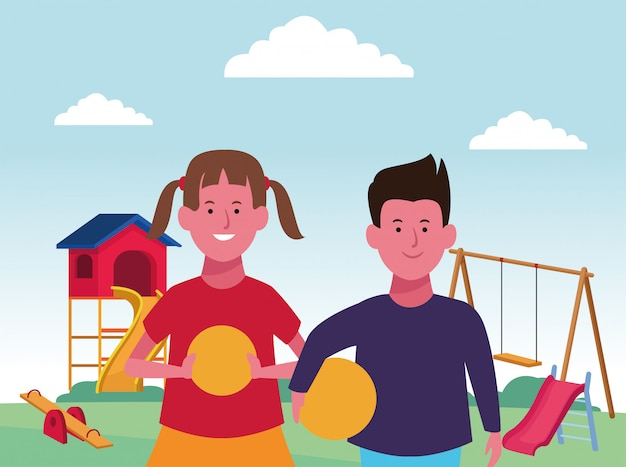Kids zone, happy boy and girl with balls and swing slide seesaw playground