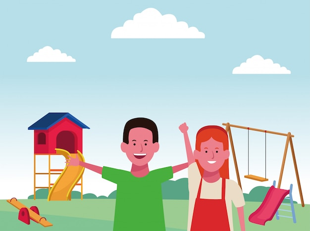 Kids zone, happy boy and girl with swing slide and seesaw playground