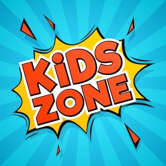 Kids zone lettering in comic style