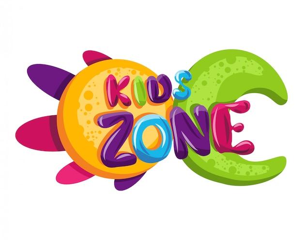 キッズゾーンのロゴ。子供の遊び場ゲームルーム