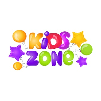 Kids zone logo with caramel letters