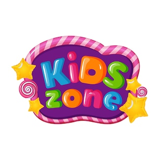 Kids zone logo with caramel letters Premium Vector