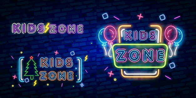 Kids zone neon sign, bright signboard, light banner.