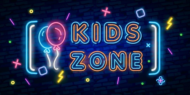 Kids zone neon sign, bright signboard