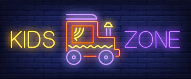 Детский зонд неоновый текст с игрушечным автомобилем