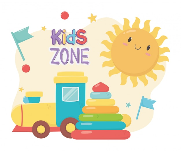 Kids zone, rubber pyramid and plastic train toys