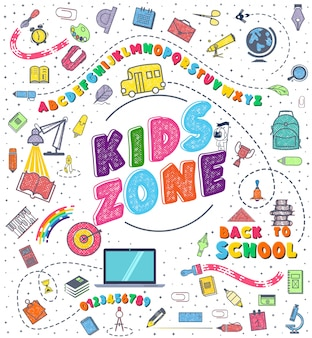 Kids zone school background with hand drawn school supplies