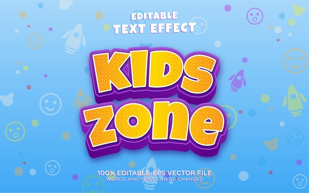 Kids zone text style effect