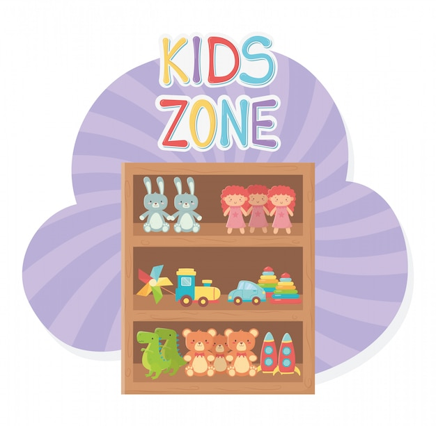Kids zone, wooden shelf furniture with toys