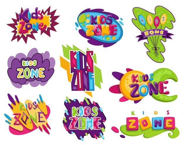 Kids zones set. children playground game room or center emblems. playroom banners in cartoon style for children play zone. toys fun playing zone, children games party and play area poster.