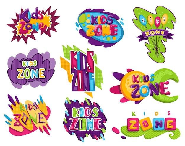 키즈 존이 설정되었습니다. 어린이 놀이터 게임 룸 또는 센터 엠블럼. 어린이 놀이 영역을 위한 만화 스타일의 놀이방 배너. 장난감 재미있는 놀이 공간, 어린이 게임 파티 및 놀이 공간 포스터.