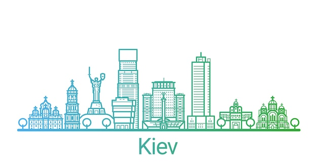 Цветная градиентная линия города киев