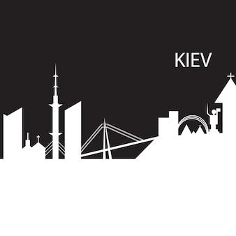 Киевский городской горизонт черно-белый силуэт. векторная иллюстрация