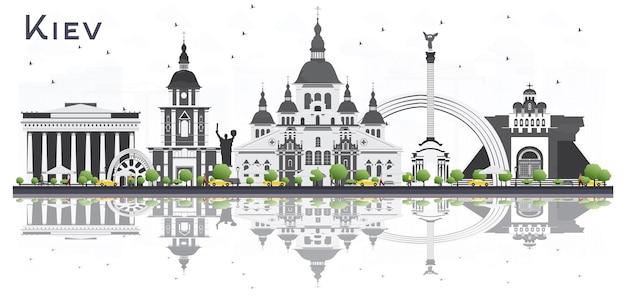 회색 건물과 반사 흰색 배경에 고립 된 키예프 우크라이나 도시의 스카이 라인. 벡터 일러스트 레이 션. 비즈니스 여행 및 관광 개념입니다. 랜드마크가 있는 키예프 도시 풍경.
