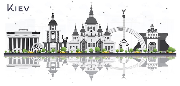 Kiev ukraine city skyline with gray buildings and reflections isolated on white background. vector illustration. business travel and tourism concept. kiev cityscape with landmarks.