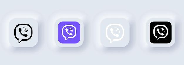 Kiev, ukraine - february 22, 2021: set of viber icons. social media icons. realistic set. neumorphic ui ux white user interface. neumorphism style.