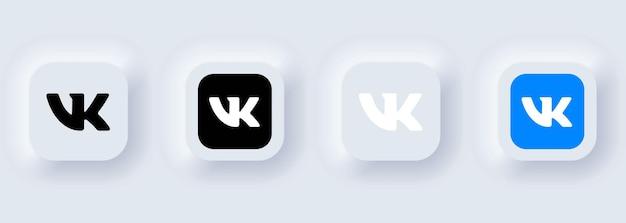 Kiev, ukraine - february 22, 2021: set of vkontakte icons. social media icons. realistic set. neumorphic ui ux white user interface. neumorphism style.