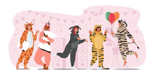 Kigurumi 잠옷 파티, 동물 의상을 입은 젊은이 유니콘, 당나귀, 얼룩말, 기린, 풍선과 베개를 가진 호랑이 친구들과 즐거운 시간, 음악 듣기, 생일 축하. 만화 벡터 일러스트 레이 션