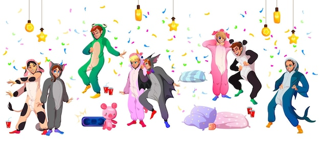 Kigurumi pigiama party giovani in costumi animali