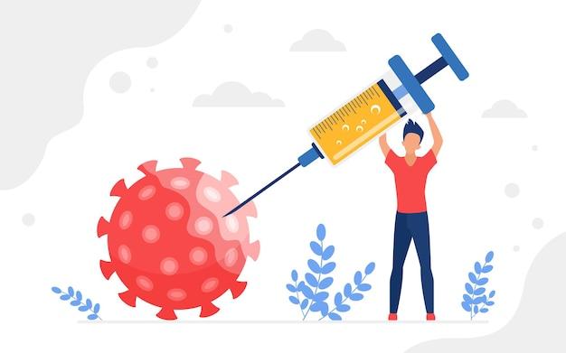 Убить коронавирусную антивирусную вакцину концепция человека, держащего шприц для инъекции вакцины