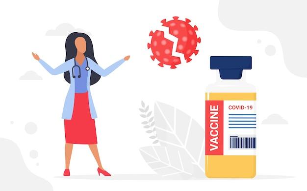 백신 병 근처에 서 있는 코로나바이러스 세포 예방 접종 의료 캠페인 의사 죽이기