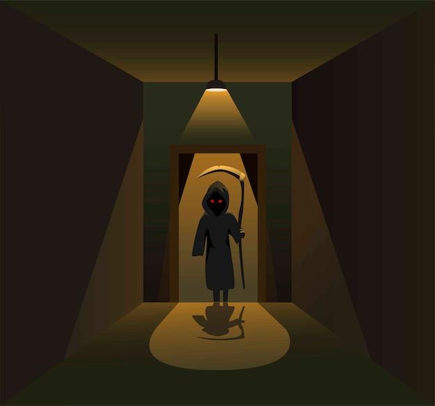 漫画イラストの暗い廊下の部屋のホラーシーンのコンセプトのドアの後ろにキラーエンジェルシルエット