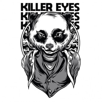 Killer eyes black and white illustration