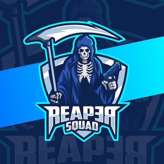 Killer reaper mascot with gun esport logo design