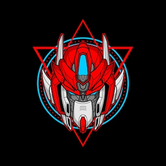 Killer robot head with sacred geometry 11