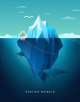Killer whale hunting seal around iceberg