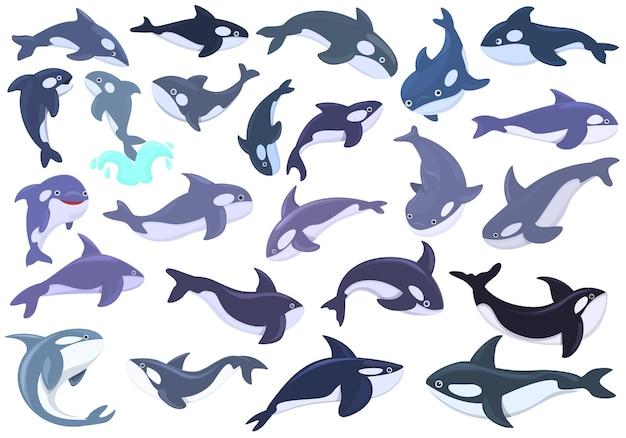キラークジラのアイコンを設定します。ウェブデザインのキラークジラベクトルアイコンの漫画セット