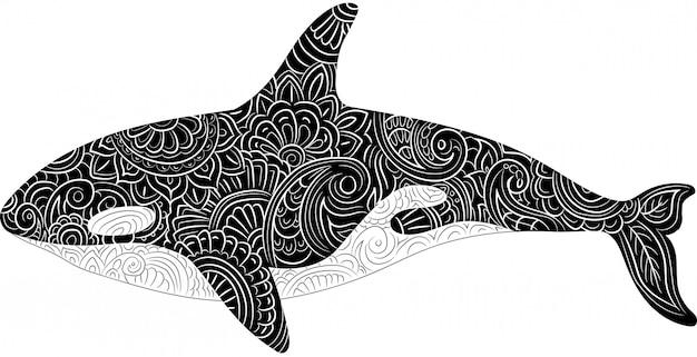 에스닉 패턴 스타일의 킬러 고래