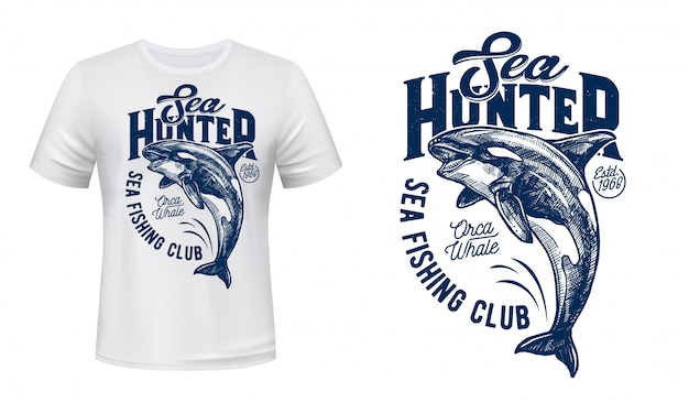 Killer whale print mockup of fishing club t-shirt