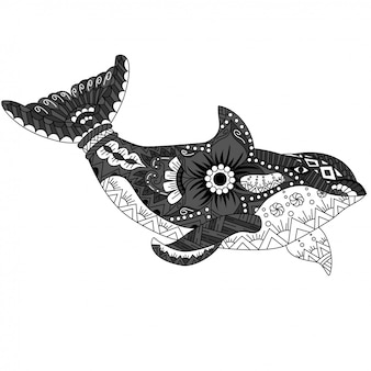 Killer whale zentangle in ethnic pattern style