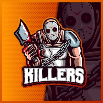 斧のマスコットeスポーツロゴデザインイラストテンプレート、ハロウィーンのロゴとキラー