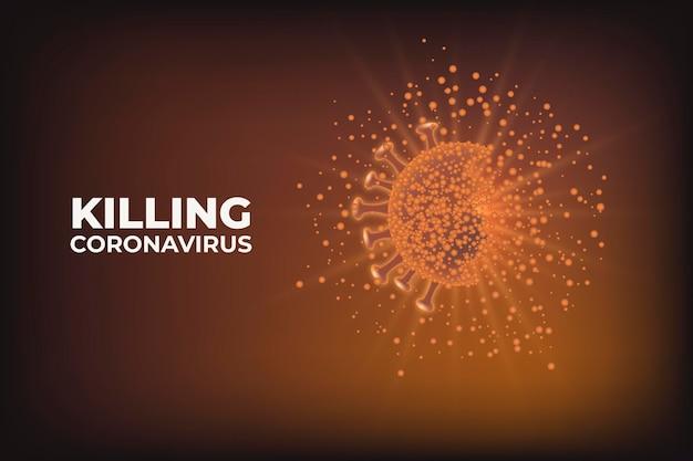 Killing coronavirus and saving the earth background