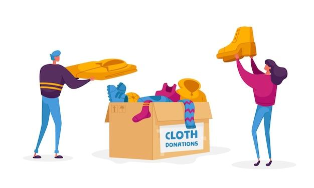 服を集める慈善団体の親切な男性と女性のキャラクターのボランティア