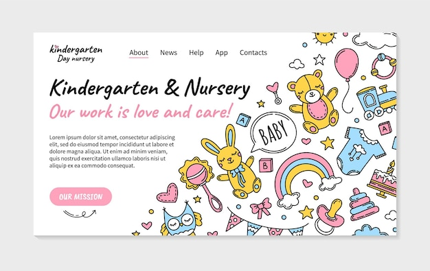 장난감 아이콘이있는 유치원 및 하루 보육 방문 페이지
