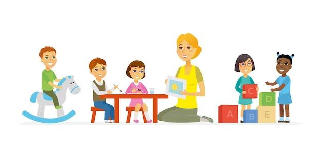 유치원-만화 사람들 문자 흰색 배경에 고립 된 그림. 웃고 있는 어린 여교사와 행복한 아이들이 장난감, 벽돌, 쓰기, 그림을 가지고 노는 모습