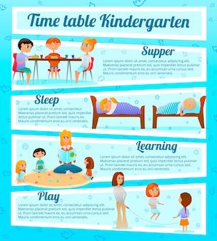 Kindergarten characters infographics